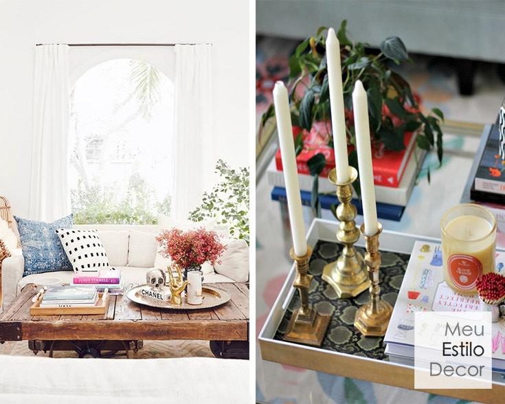 como decorar mesa de centro velas