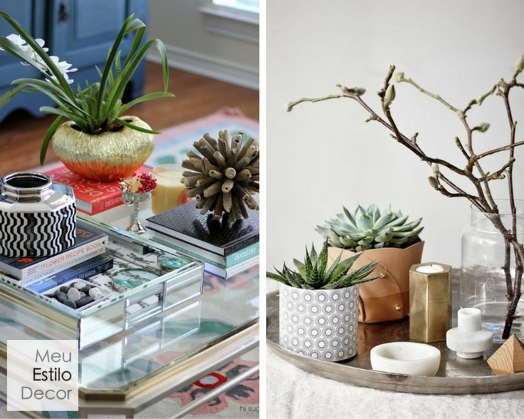 como decorar mesa de centro plantas