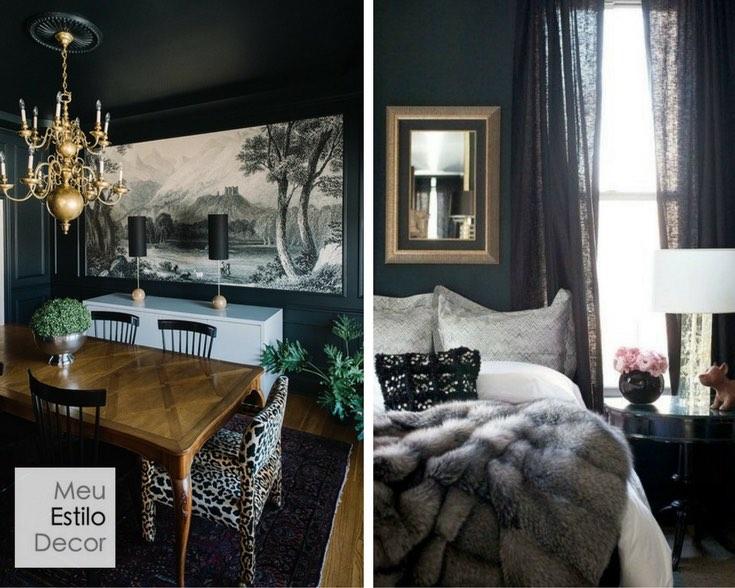 melhores cores neutras para paredes preto sofisticado