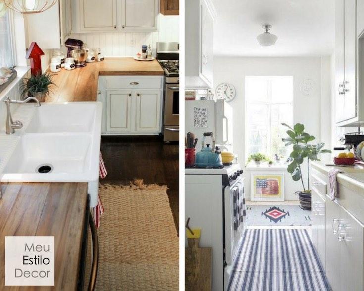 tendências de decoração tapete na cozinha e no banheiro