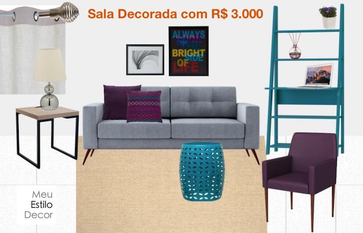 Sala de estar decorada com 3000 reais