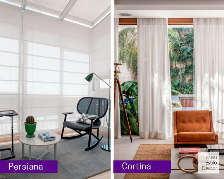 diferença entre cortina e persiana