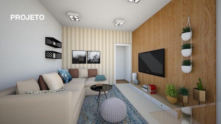 projeto para sala pequena com sofá de canto
