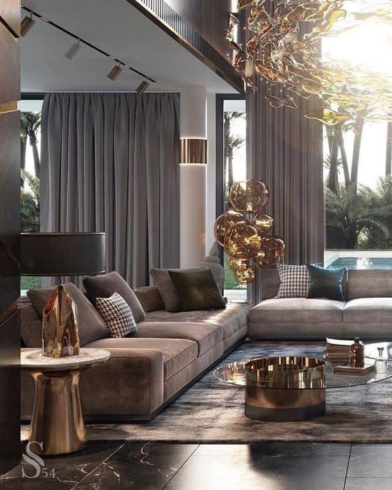 combinação de cores e moods na decoração classico glamouroso