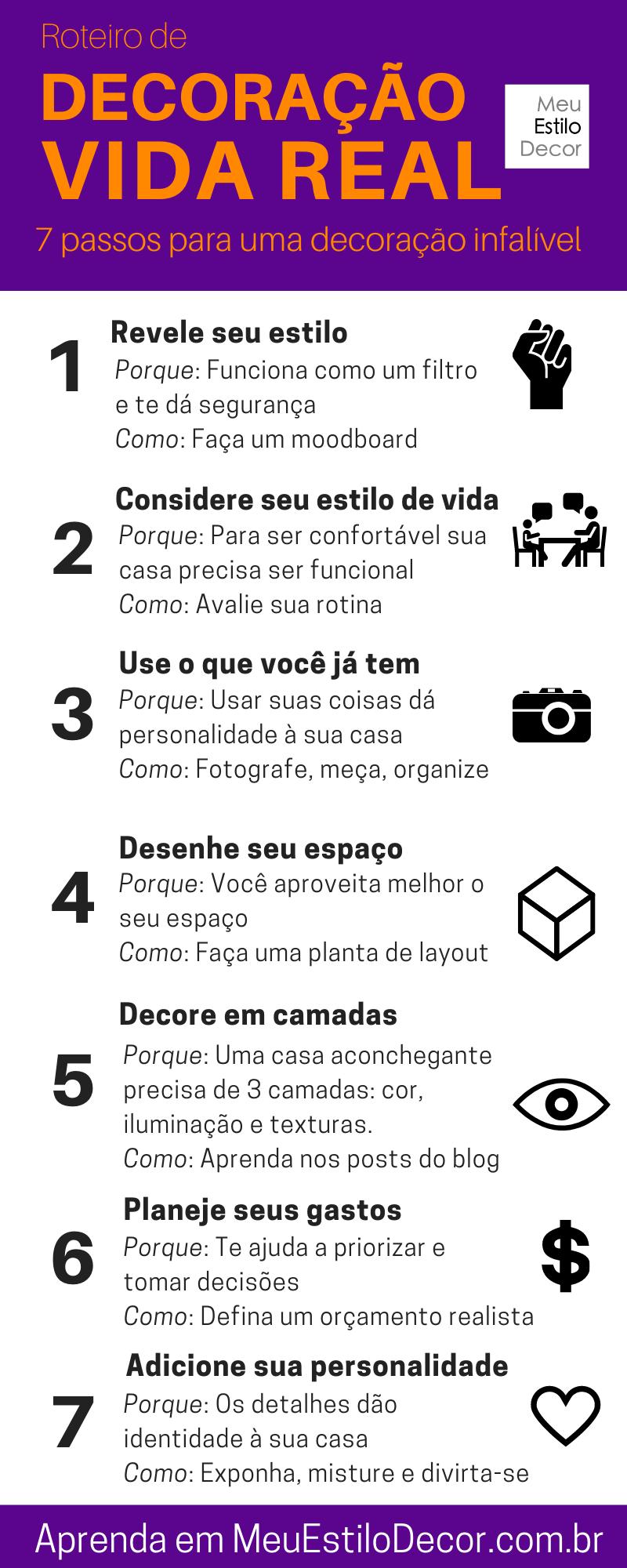 7 passos de decoração infalível infografico passo a passo