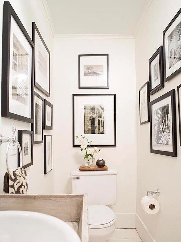decoração com fotos no lavabo