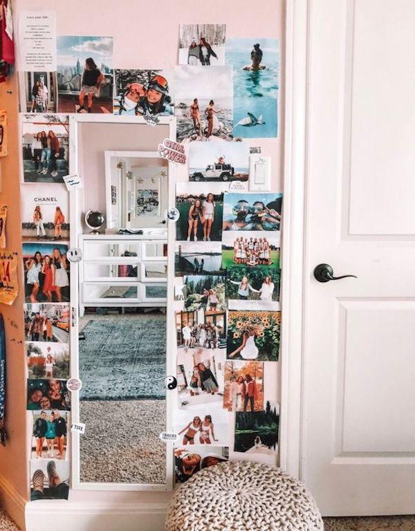 decoração com fotos coladas na parede com espelho