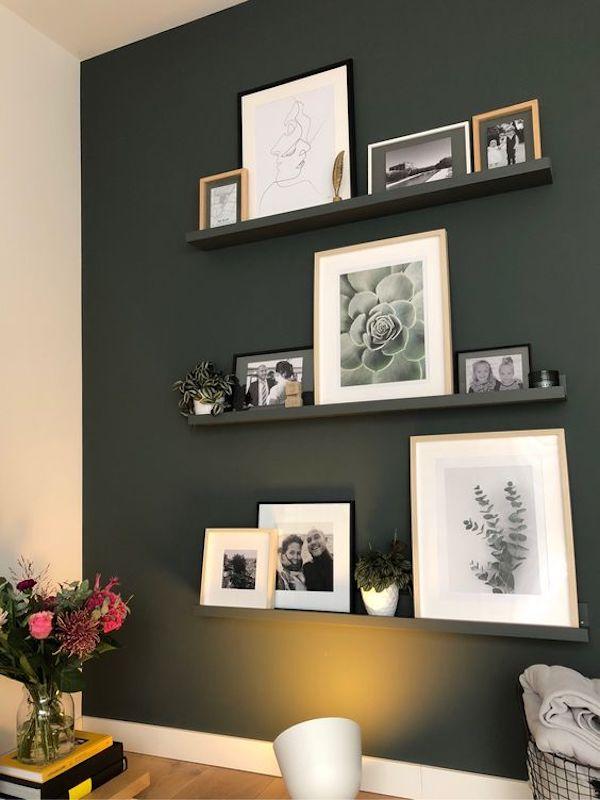 decoração com fotos prateleiras