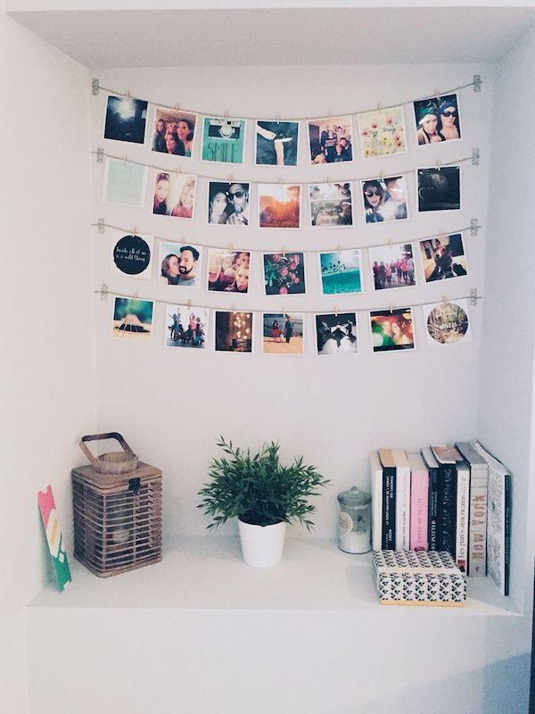 decoração com fotos varal de fotos